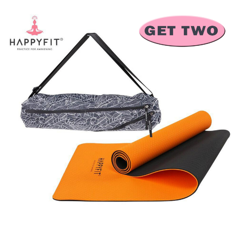 HAPPYFIT Eco Friendly Yoga Mat 6Mm - Matras Anti Slip Premium - Free Strap Orange Grey+Yoga Mat Bag