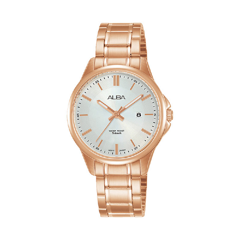 Alba AH7V80X1 Ladies Silver Dial Rose Gold Stainless Steel Strap