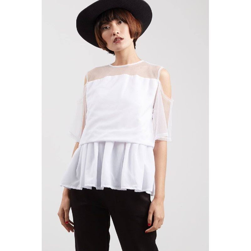 Tiss Drape Top White
