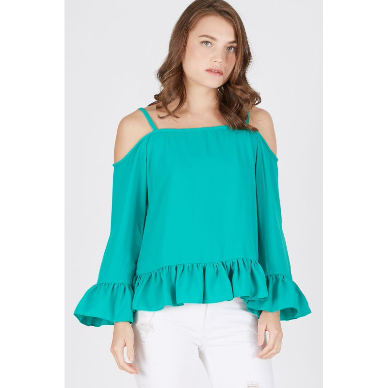 Nona Tank Ruffle Top Green