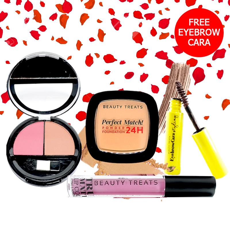 Beauty Treats Make Up Set A (Perfect Match Powder Foundation 24H No. 4 + True Matte Lip Color No. 3 + Duo Blush No. 2) FREE Eyebrowcara Dark Brown