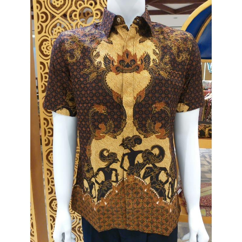 Batik Semar Pria Hem Pendek Full Tricot Pandawa Samarat 52 Cokelat size 3L