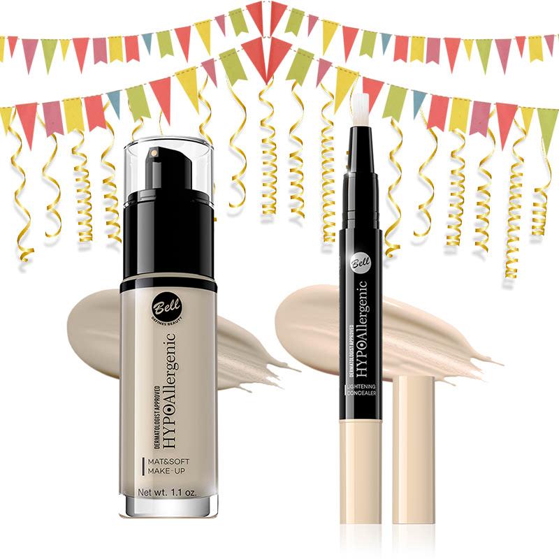 Bell Hypoallergenic Mat&Soft Make-Up 01 Light Beige & Bell Hypoallergenic Lightening Concealer 01