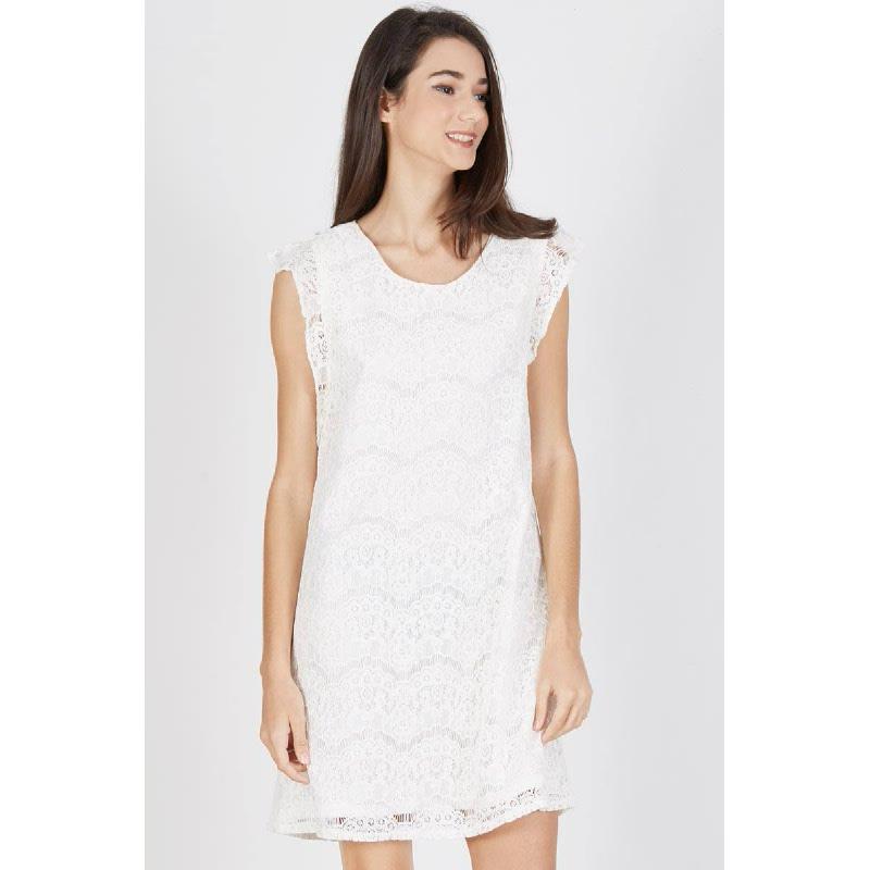 Poesy Frill Shift Dress White