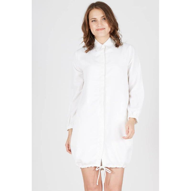 Paula Gathered Shirt Dress White