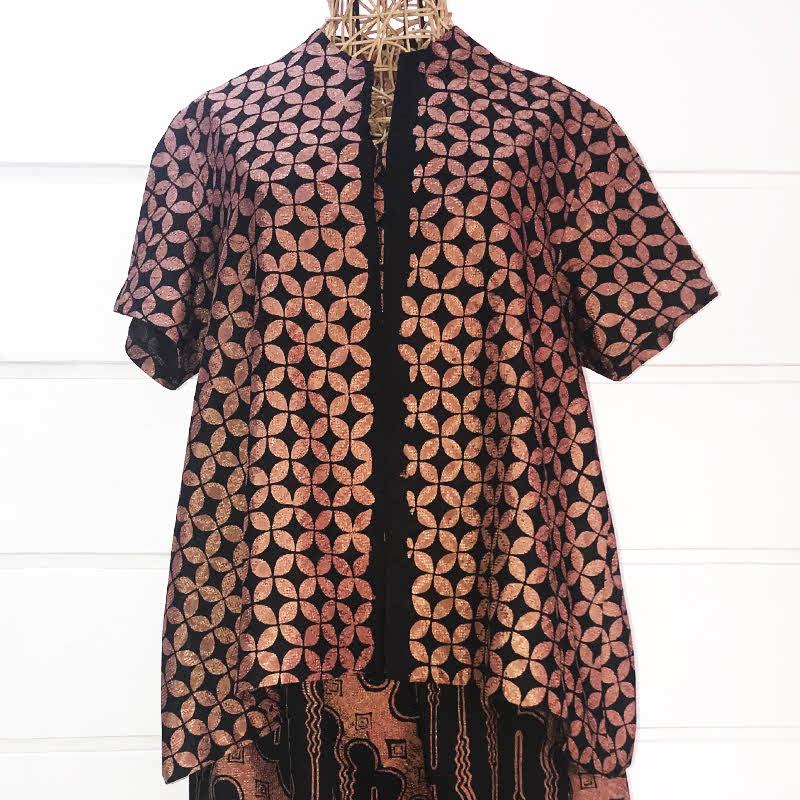 Batik Chic Blouse A Kawung Coklat Hitam