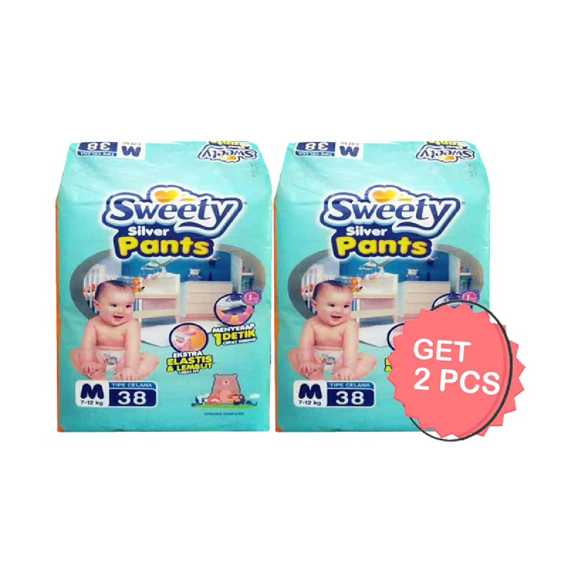 Sweety Diaper Silver Pants M 38S (Get 2)