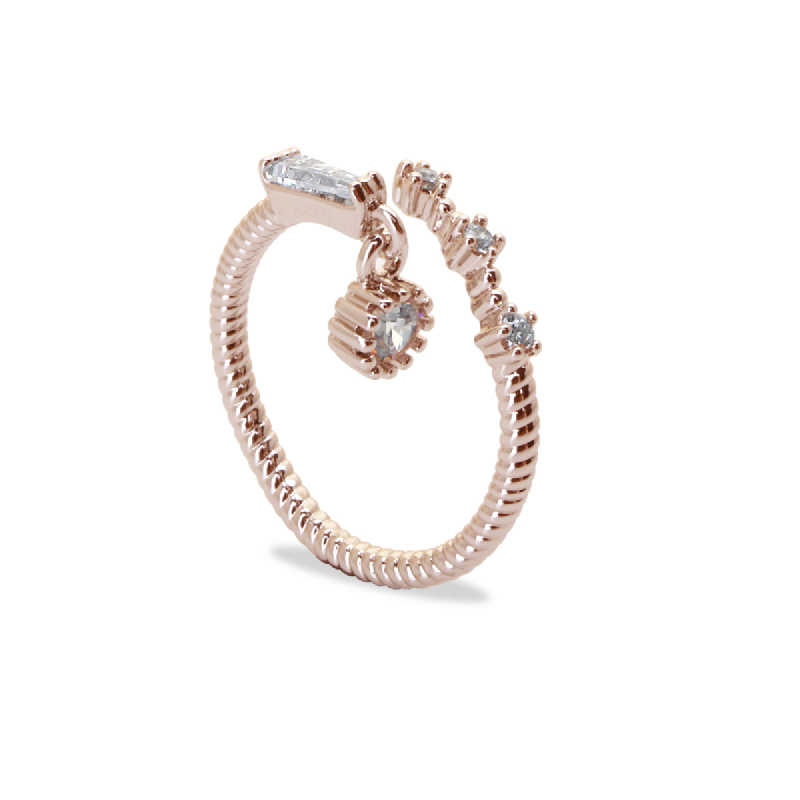 Cocoa Jewelry Cincin Skinny Twist Rose Gold Color