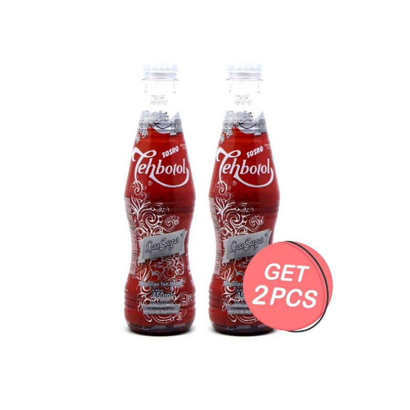Teh Botol Sosro Less Sugar Low Calorie 450 Ml (Get 2)