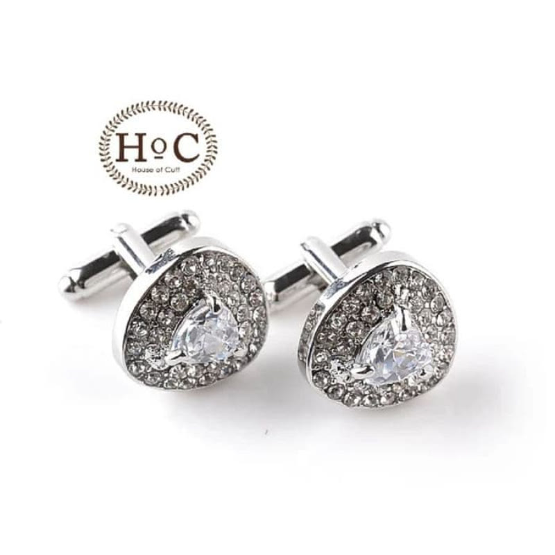 House Of Cuff Cufflinks Manset Silver Triangle Clear Studded Cufflinks