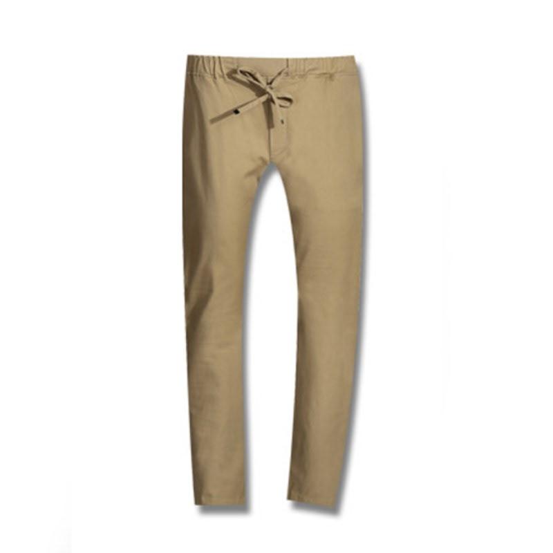 Stone Washing Banding Cotton Pants - Beige