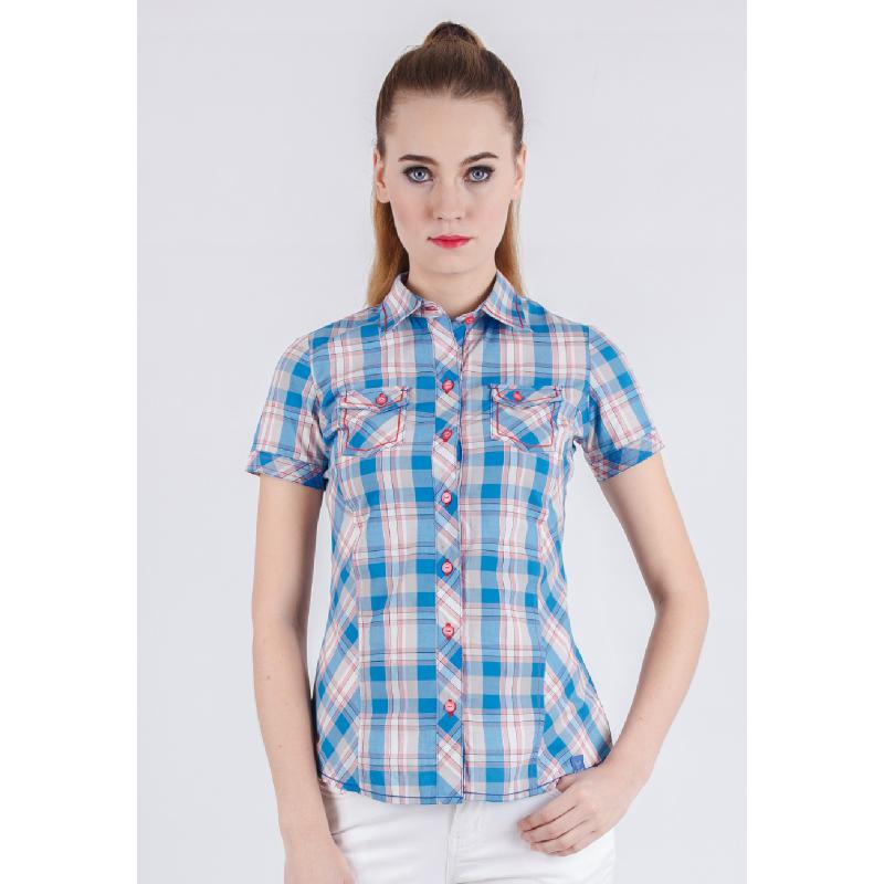 Slim Fit Ladies Shirt Blue/White Plaid Shirt