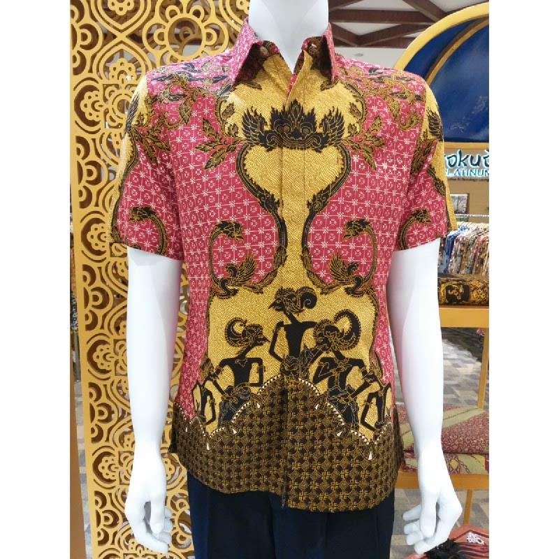 Batik Semar Pria Hem Pendek Full Tricot Pandawa Samarat 30 Merah size 3L
