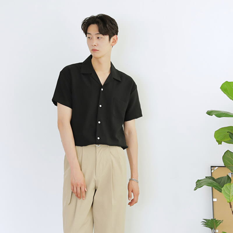 Roger Pajama Collar Short Sleeve Shirt Black