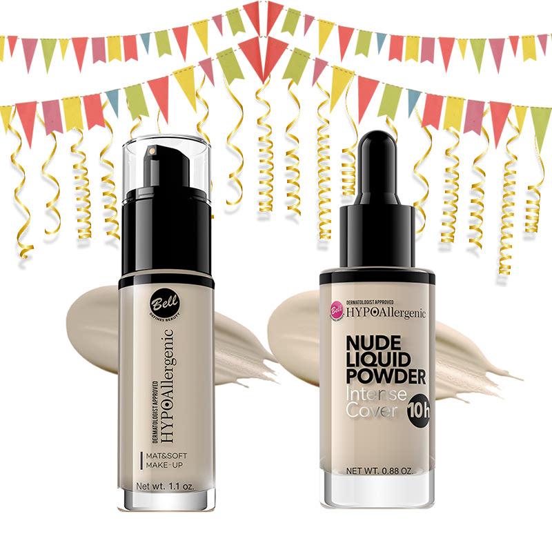 Bell Hypoallergenic Mat&Soft Make-Up 01 Light Beige & Bell Hypoallergenic Nude Liquid Powder 02 Light Beige