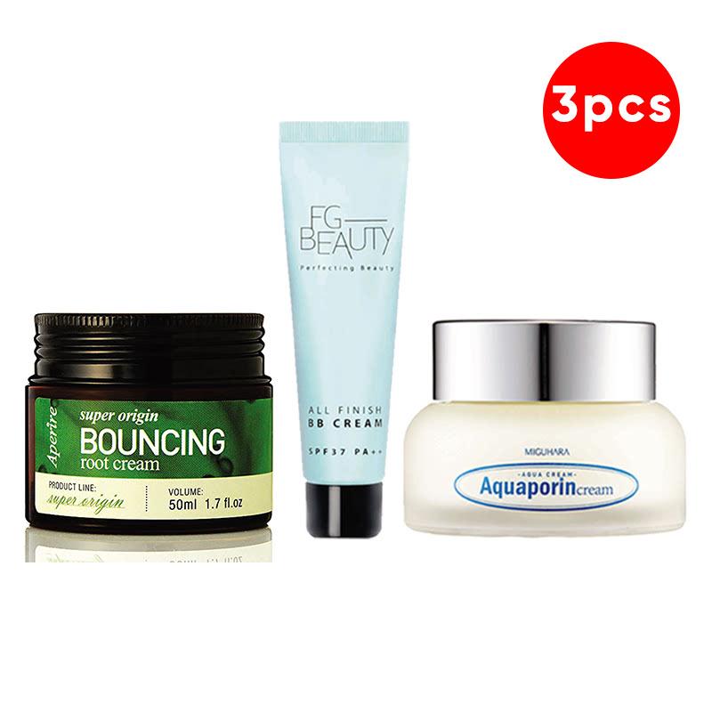 Aperire Super Origin Bouncing Root Cream 50 G + FG Beauty All Finish BB Cream Tube 30 Ml + Miguhara Aquaporin Cream 50 Ml