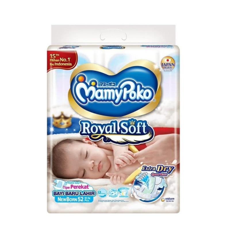 Mamypoko Disposable Baby Diapers New Born 52S