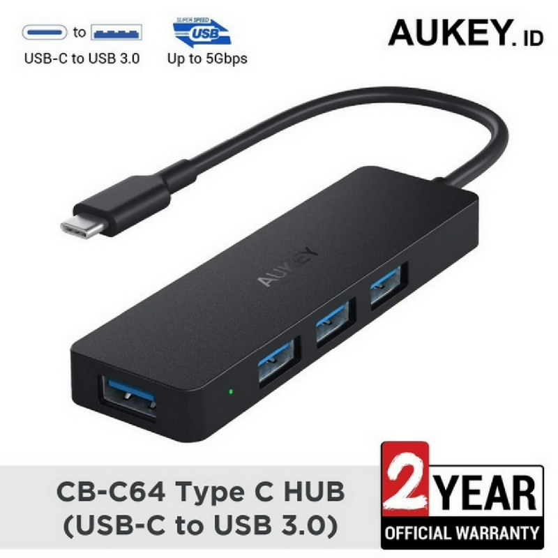Aukey HUB CB-C64 Unity Slim 4-Port USB 3.0 Hub Type-C - 500580