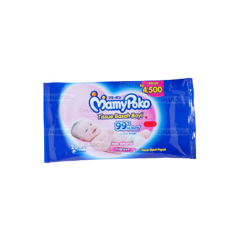 MamyPoko Baby Wipes Non Alcohol Perfume Isi 20 pcs