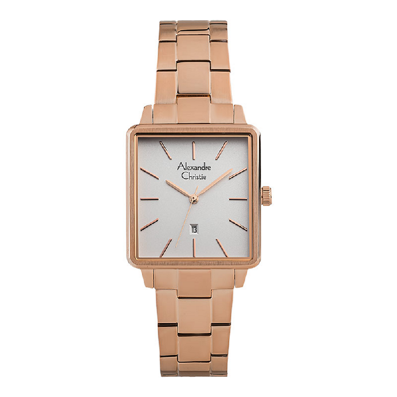 Alexandre Christie AC 2878 LD BRGSL Ladies Silver Dial Rose Gold Tone Stainless Steel Strap