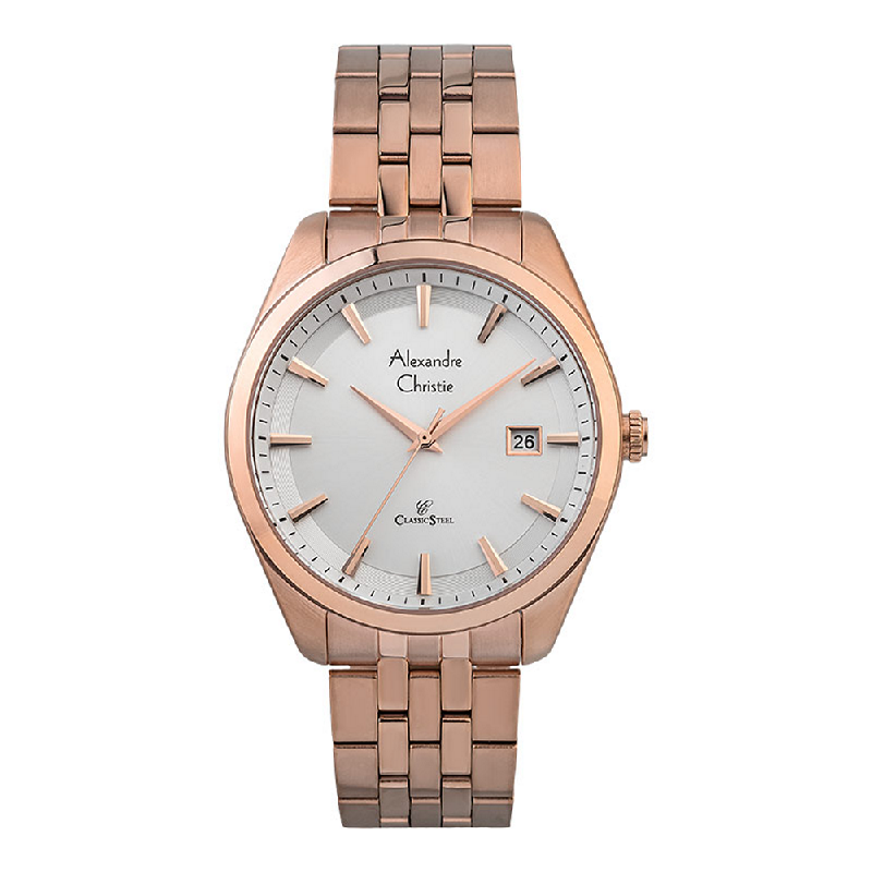 Alexandre Christie Classic Steel AC 8635 MD BRGSL Men Silver Dial Rose Gold Stainless Steel Strap