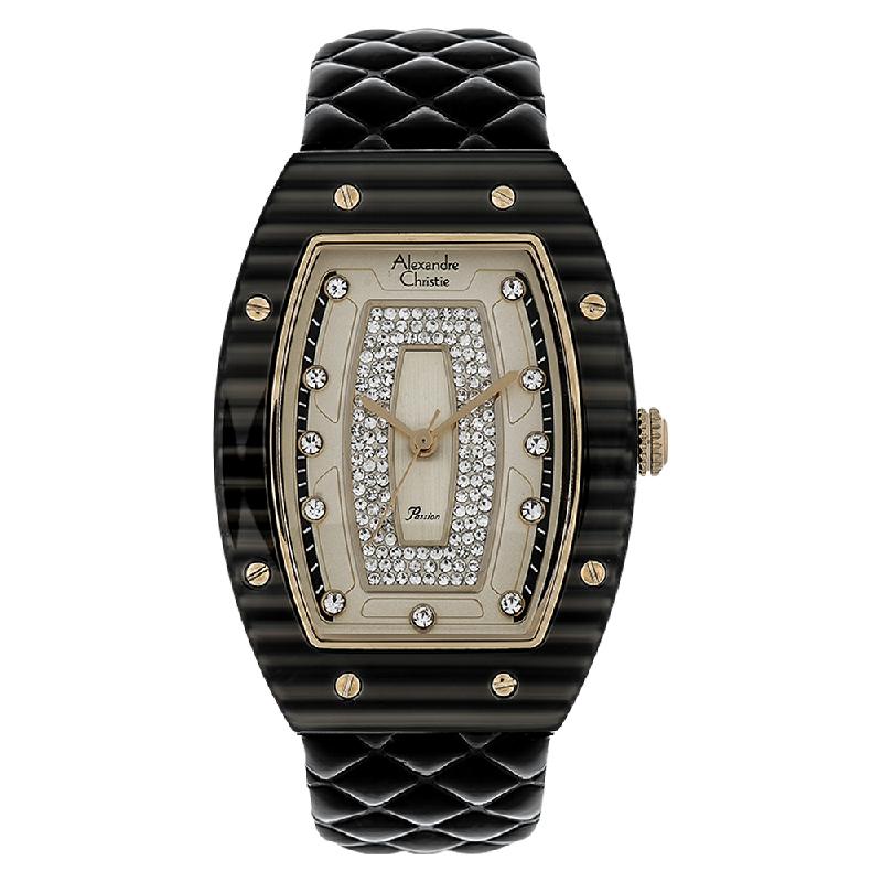 Alexandre Christie AC 2729 LH LGPIVBA Ladies Gold Dial Black Leather Strap