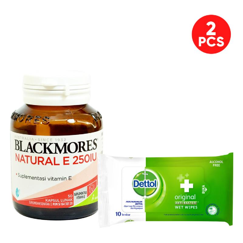 Blackmores Natural E 250 IU Free Dettol Anti Bakteri Wet Wipes Original Isi 10