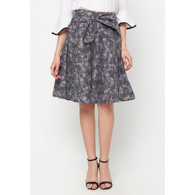 Agatha Tie Waist Circle Batk Skirt Purple