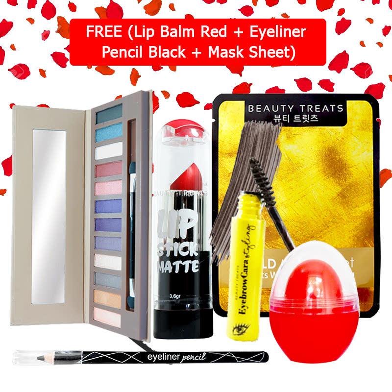 Beauty Treats Make Up Set B (Naked Eyeshadow No. 2 + Lipstick No. 1 + Eyebrowcara Dark Grey Brown) FREE Kiss Me Lip Balm Red + Eyeliner Pencil Black + Mask Sheet Gold