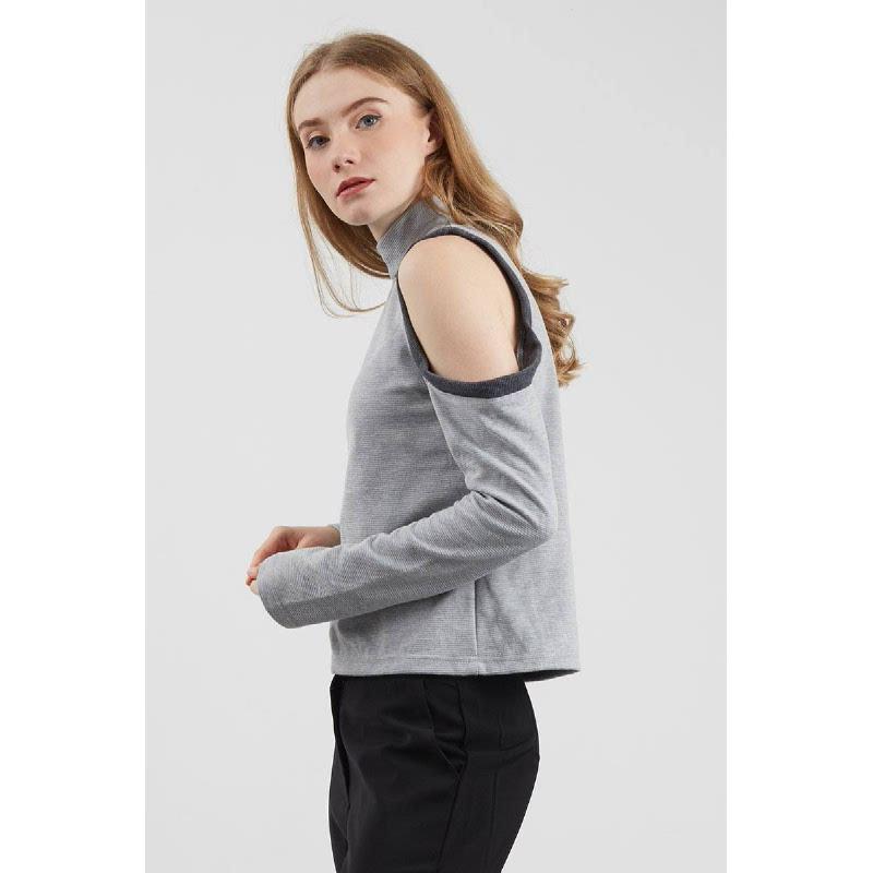Tiffany Cut Sleeve Top Grey
