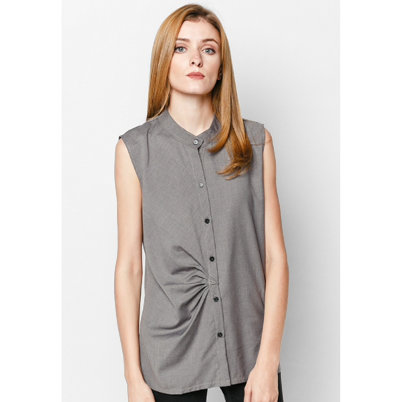 Lovadova Lilac Pleated Top Grey