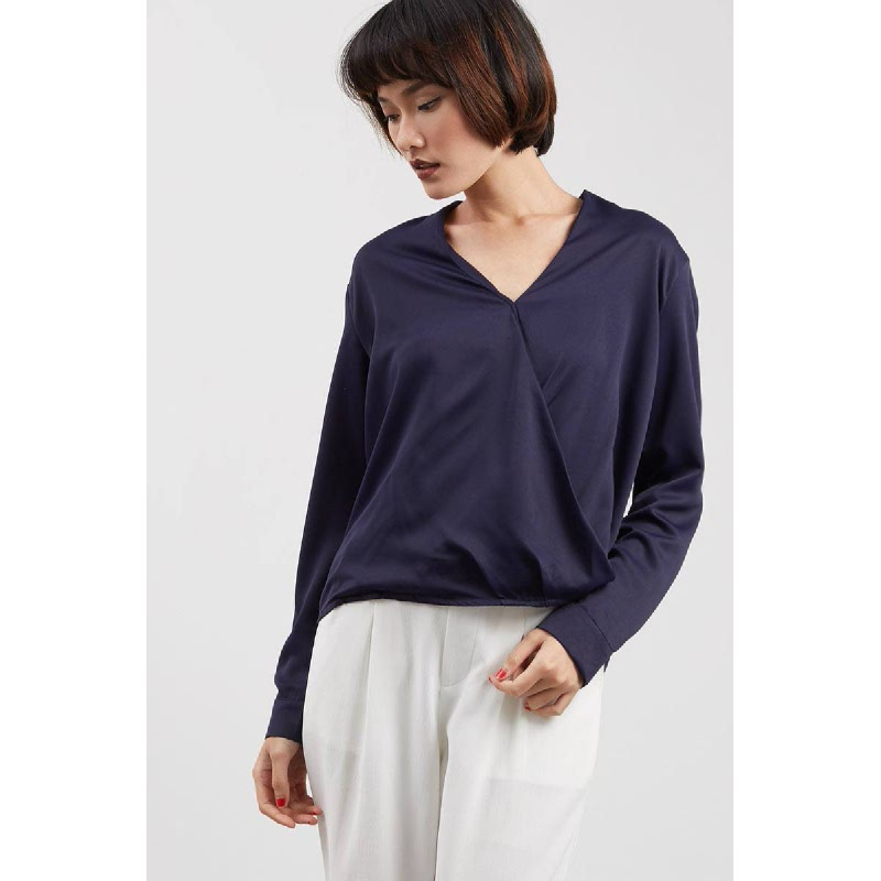 Valerie Drape Top Navy
