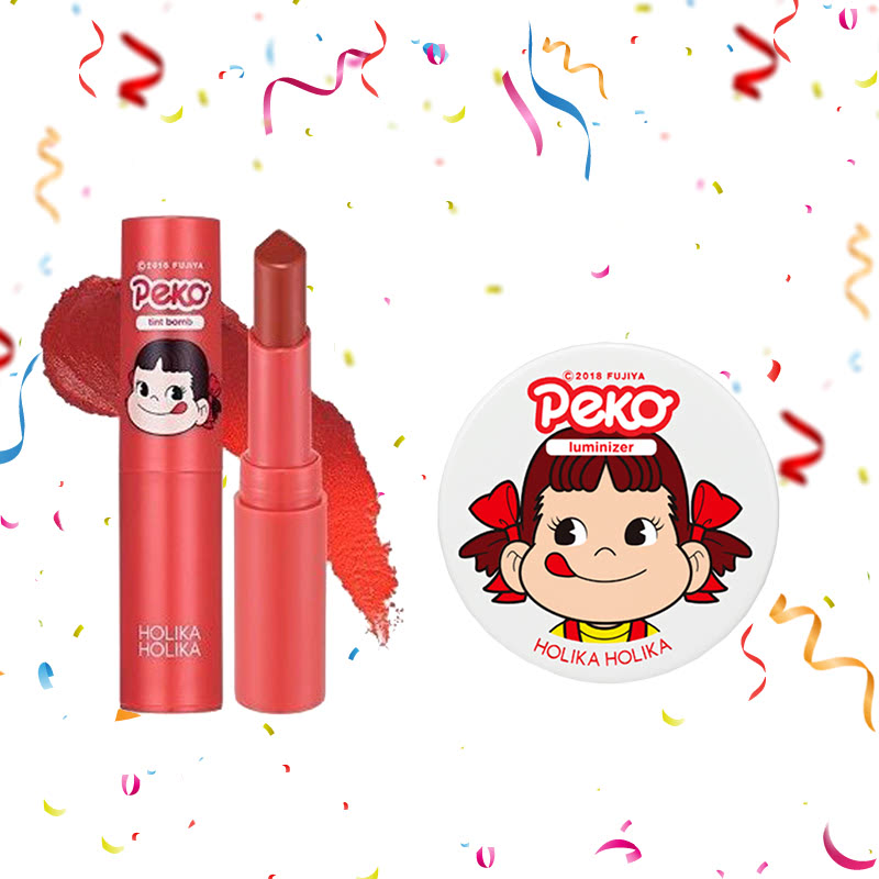 Holika Holika Peko Water Drop Tint Bomb 05 Caramel Water + Peko Milky Jelly Luminizer 6g