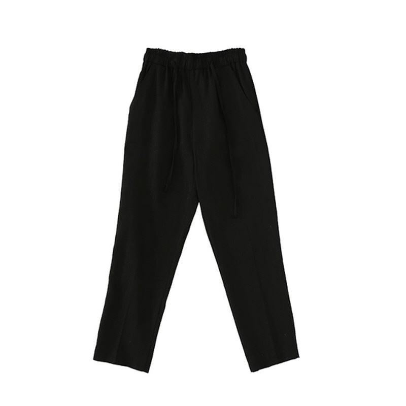 Slim Linen Slacks - BLACK