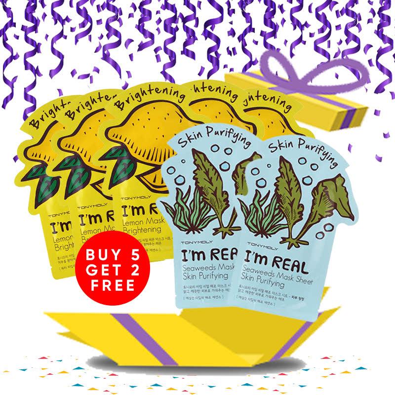 Tony Moly Bundle 5pcs I Am Real Lemon Mask Sheet Brightening + 2pcs Seaweeds Mask Sheet Skin Purifying