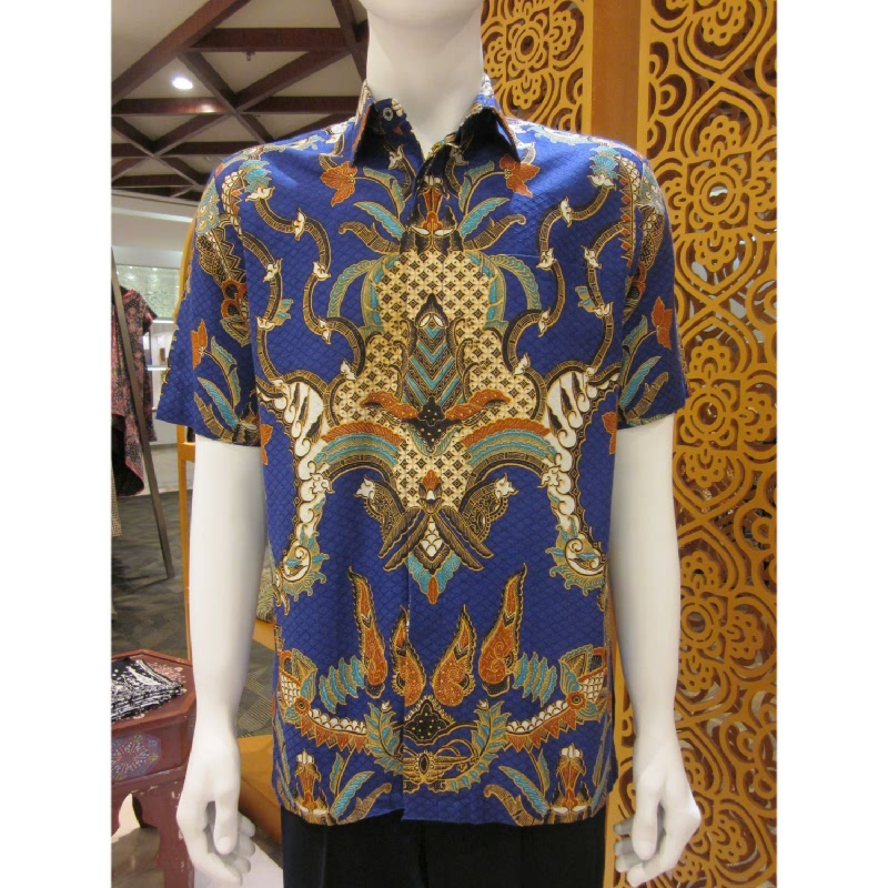 Batik Semar Hem Pendek Dobi Kawung Kinurung 40 Biru (3L)