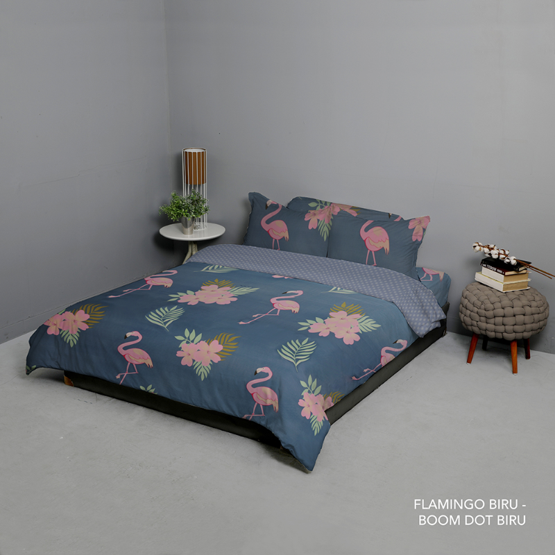 King Rabbit Bed Cover Double 230x230 cm Motif Flamingo - Biru