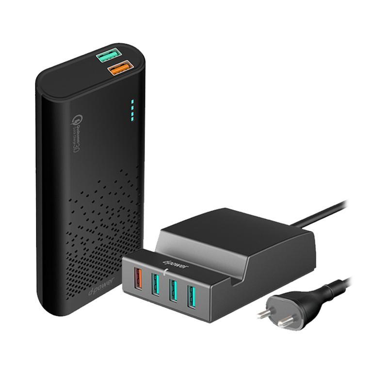 d-power GC51L Powerbank (10000 mAh) Plus IP988 Multiport 4 USB Fast Charging QC 3.0