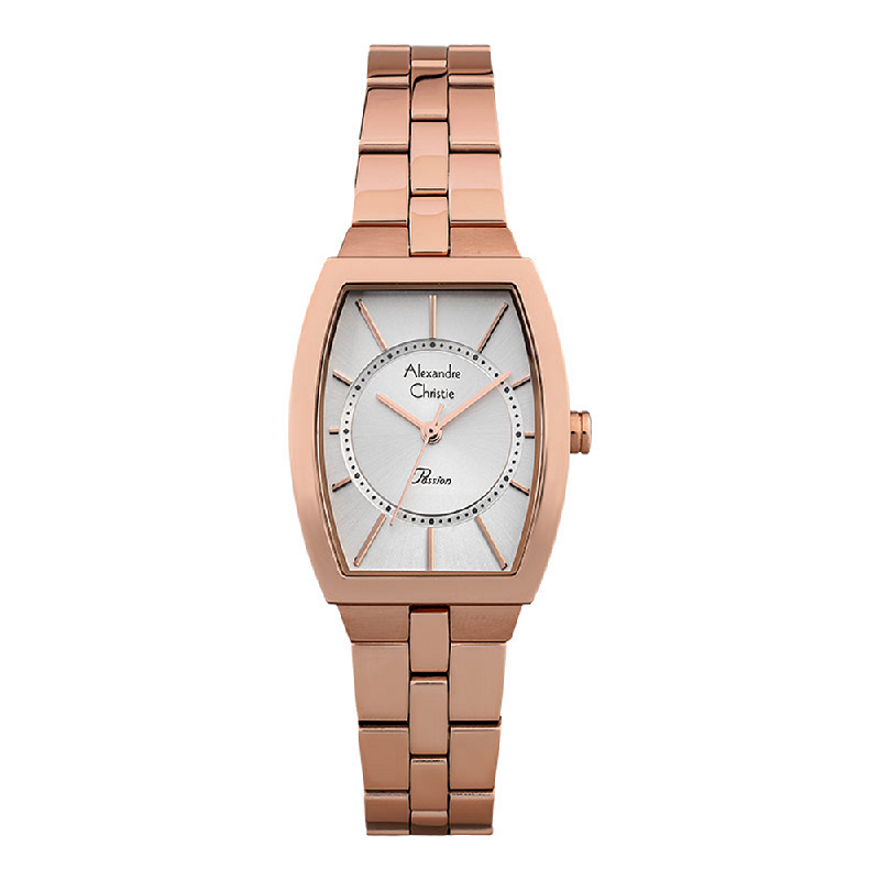 Alexandre Christie Passion ACF-2895-LHBRGSL Ladies Silver Dial Rose Gold Stainless Steel Strap