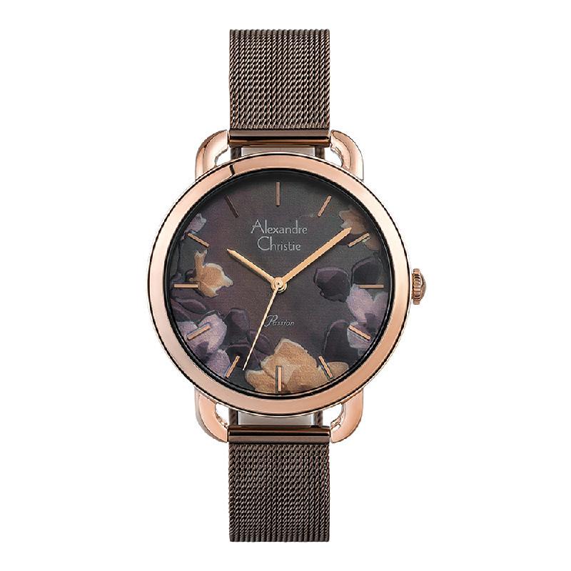 Alexandre Christie Passion AC 2852 LH BROMO Ladies Mother Of Pearl Dial Brown Mesh Strap