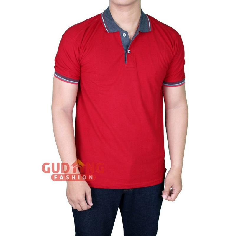 Gudang Fashion Kaos Polo Pria Lengan Pendek Cotton Pique Maroon Tua Kerah Abu PLS 110