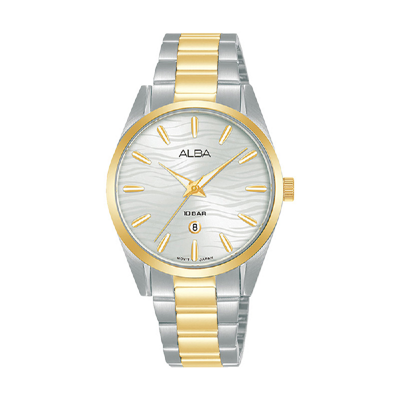 Alba AH7X66X1 Silver Pattern Dial Dual Tone Stainless Steel Strap