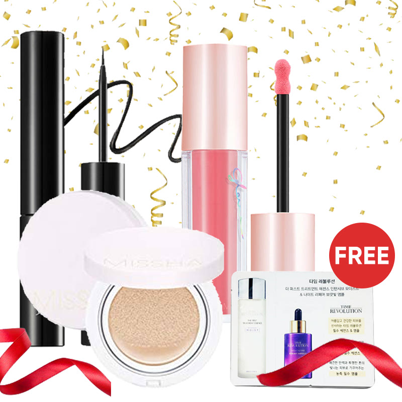 Missha Complete Makeup for Beginner (Magic Cushion Shade 21 + Liquid Sharp Eyeliner + Glow Lip Blush Find Me) Free Essence & Ampoule Sachet