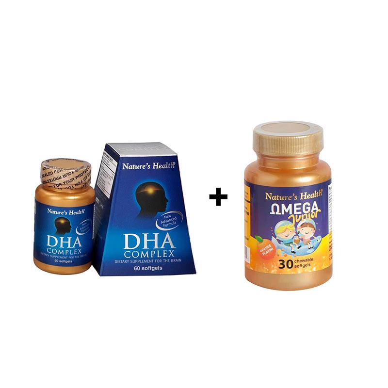 DHA Complex 500mg - 60 Softgels + Omega Junior - 30 Softgels
