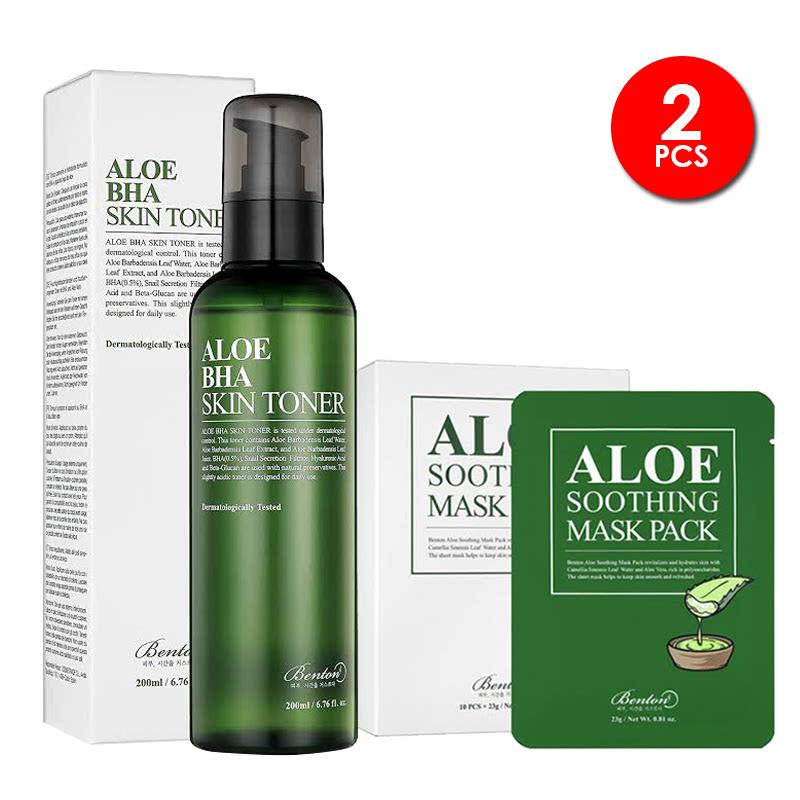 Benton Aloe Bha Skin Toner + Benton Aloe Soothing Mask Pack 23g