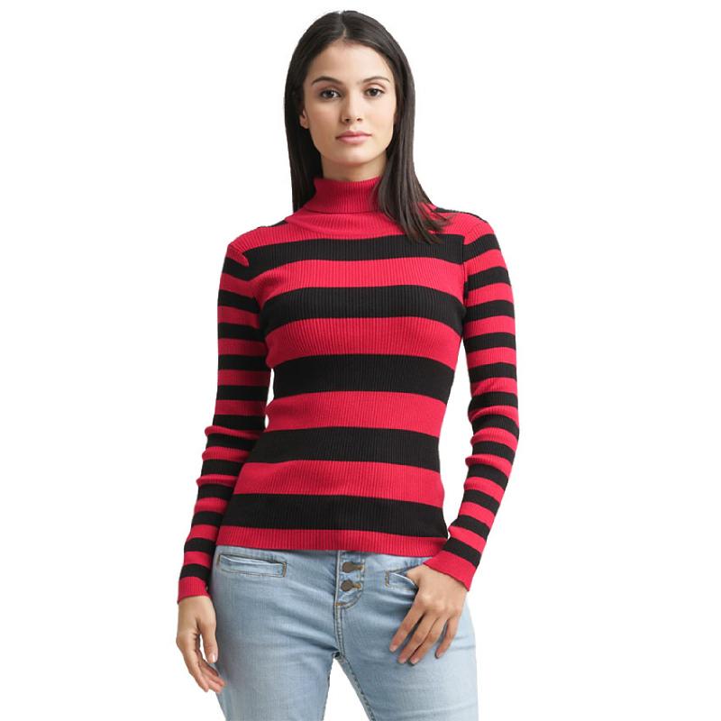 Minimal Rib Knit Turtle Neck Top RED BLACK