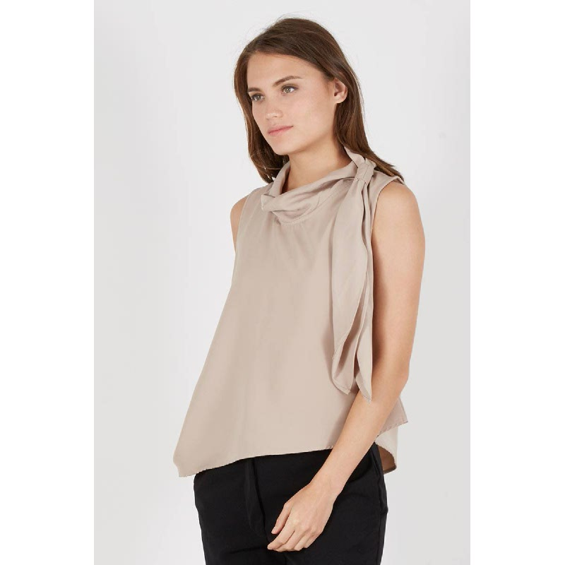 Paliz Side Knot Top Brown
