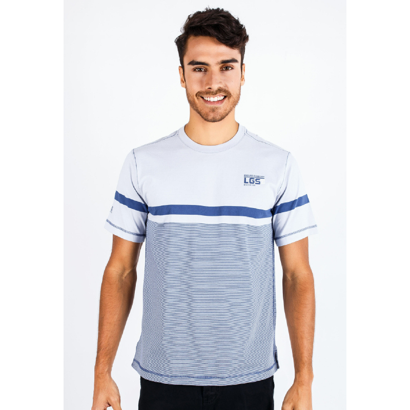 Regular Fit Stripe Tee Blue-Gray