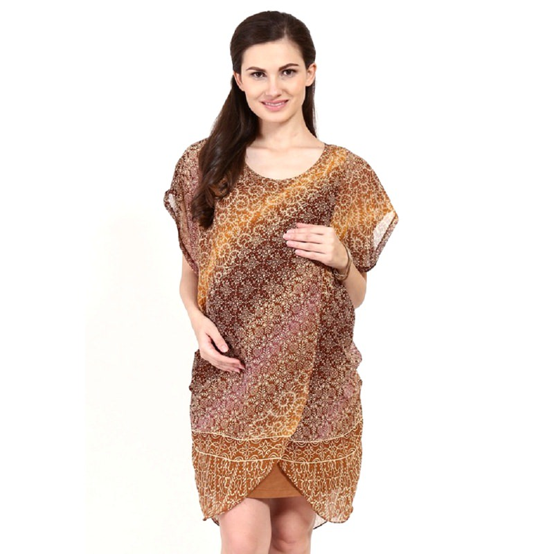 Chantilly Maternity&Nursing Dress Calista 53003 - Coklat