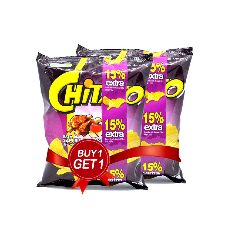 Chitato Spicy Grilled Beef 68 Gr (Buy 1 Get 1)